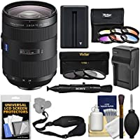 Sony Alpha A-Mount 24-70mm f/2.8Z Carl Zeiss T SSM II Zoom Lens with 3 UV/CPL/ND8 & 6 Color Filters + NP-FM500H Battery & Charger + Sling Strap + Kit
