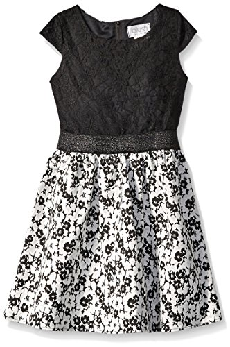 Blush by Us Angels Slim Girls Lace Floral Brocade Dress with A Cap Sleeve and A Full Skirt, Black, ()