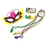 Feather Mardi Gras Mask Bundle with Mardi Gras Beads and Shot Glasses-Pefect for a Mardi Gras Ball or Parades!