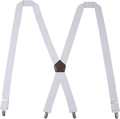 Tirantes Hombres KANGDAI Tirantes para hombres 4 hebillas X espalda de rayas Heavy Duty Men Braces Tirantes ajustables elásticos durables Strong Metal Clips (White): Amazon.es: Ropa y accesorios