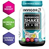 INVIGOR8 Superfood Protein Shake Gluten-Free and Non GMO Meal Replacement Shake with Probiotics and Omega 3 (645 Grams) (French Vanilla)
