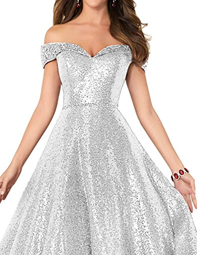 Shoulder Silver Dress for Line Changuan Prom Sequined Gowns Women Long A Evening Formal With Beaded Beads Off 5w6p6txU