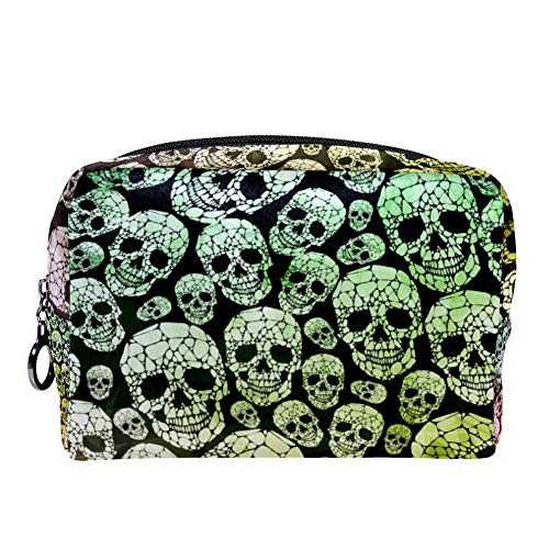 MAPOLO Abstract Gothic Skull Makeup Bag Toiletry Bag for Women Skincare Cosmetic Handy Pouch Zipper Handbag ()