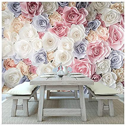 Amazon Azutura Pink Rose Flowers Wall Mural White Blue Floral