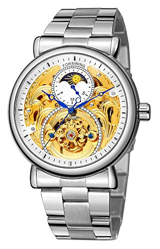 (Automatic Watch for Men Classy Tourbillon Skeleton Watch Dial Moon Phase Waterproof Mechanical Movement (Silver White Steel) )