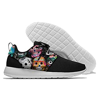 Colorful Skulls Men's Mesh Running Shoes Sneakers Lightweight Athletic Workout Fitness Sports Shoes Trainers 40