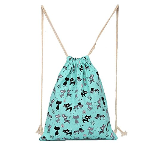 Oksale Cats Prints Canvas Drawstring Hanging Sack Sport Beach Travel Outdoor Backpack Pouch Bag - Japanese Nylon Video