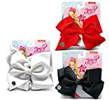 Warp Gadgets Bundle - Jojo Siwa 1 Black, 1 Red And 1 White Signature Basic Bow Hair Accessories (3 Items)