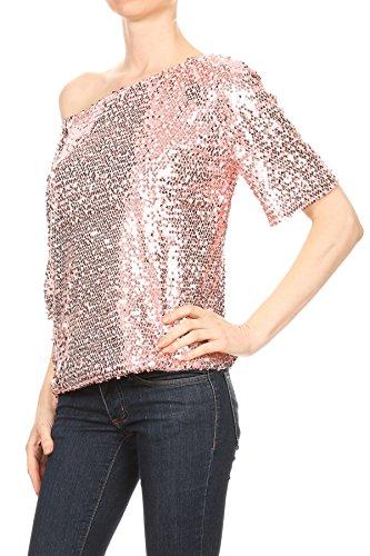 abbellite color rosa con sera donna shirt giacca da con paillettes T da kaci brillante Anna xqO0pa7wH
