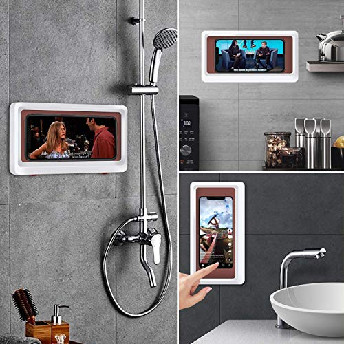 Bathroom Waterproof Phone Holder, Wall Mount Shower Case Mount Shelf, Waterproof Anti-Fog Touch Mobile Holder, Punch-Free, for Shower, Kitchen, Compatible with Mobile Phones Under 6.8 Inches (White)