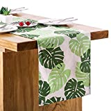 Letjolt Monstera Leaves Pattern Green Table Runner for Wedding Decorations Bachelorette Party Table Decorations, 14'' x 72''
