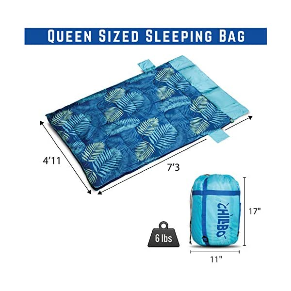 Chillbo Double Sleeping Bag for Adults Queen Sleeping Bag for Backpacking, Camping, Hiking & Music Festivals Cool Patterns Queen Size XL 2 Person Sleeping Bags for Adults 7