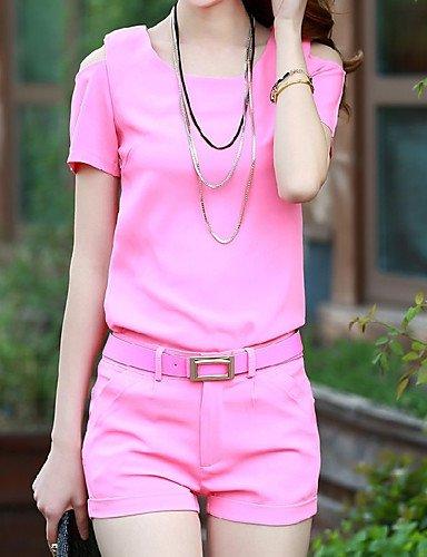 Manga De Blushing Pink cuello Verano Redondo Xuanku Camiseta Corta Para Mujer 50Wzq