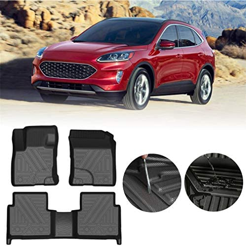 Heavy Use Car Mats for Ford Escape 2020 5seats Rubber Car Mats Anti-Slip Waterproof Floor Mats