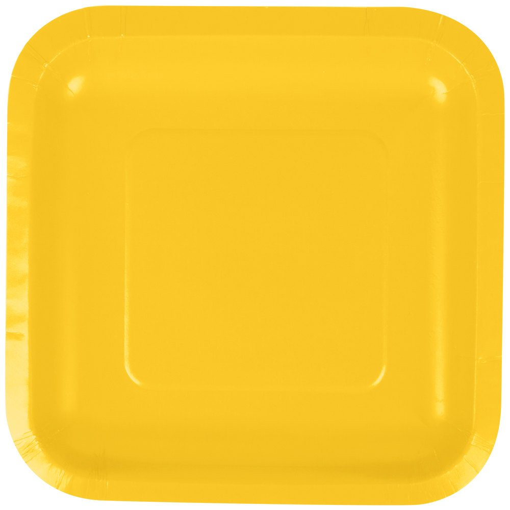 Creative Converting 453269 7'' School Bus Yellow Square Paper Plate - 180/Case