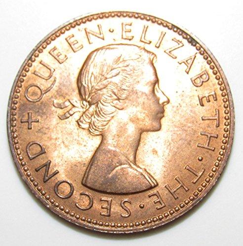1959 NZ New Zealand Half Penny Coin 1/2c XFAU (Penny Rare Half)