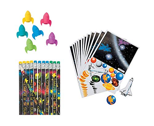 48 PC Space Solar System Birthday Party Favor - 24 Space Pencils, 12 Rocket Ship Eraser Pencil Toppers, 12 Paper Solar System Sticker Scenes