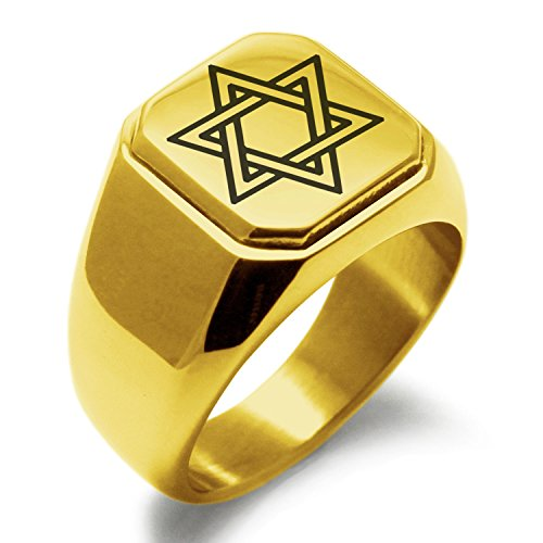 Gold Plated Stainless Steel Interlocking Hexagram Star of David Symbol Engraved Square Flat Top Biker Style Polished Ring, Size (Stainless Steel Polished Stars)
