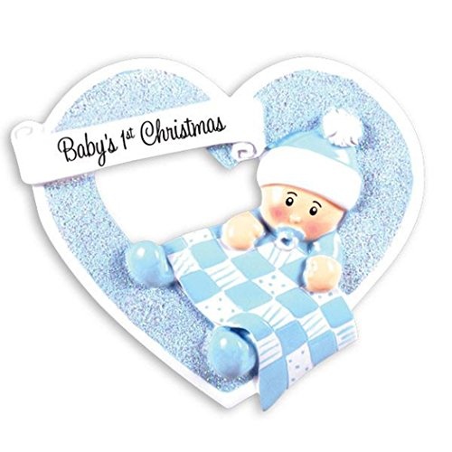 Personalized Baby's 1st Christmas in Heart Tree Ornament 2019 - Cute Boy Blue Hat Pattern Quilt Heartily Yours New Mom Shower Gift Grand-Son Kid Sleepy Born Nursery Year - Free ()