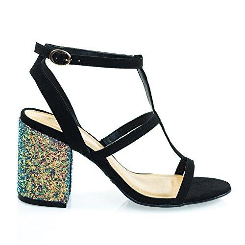 Sandalo Con Tacco Largo E Glitter, Sandalo Con Cinturino Gladiatore Nero