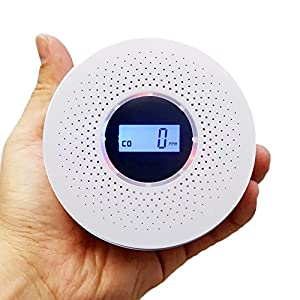 Combination Carbon Monoxide Detector and Smoke Detector, Battery Operated Travel Portable CO Alarm with Voice Warning and LCD Digital Display