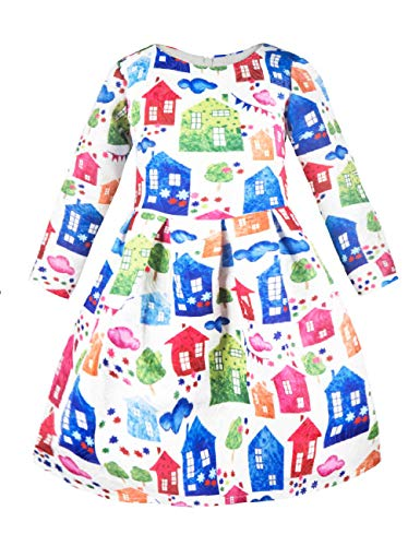 Girls Kids Casual Dress Paint Rose Animal Fall Long Sleeve/Sleeveless Dresses (Art Animal Winter)