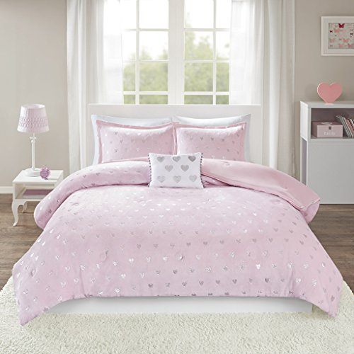 (Mi-Zone Rosalie Metallic Printed Plush Comforter Set, Twin/Twin XL, Pink/Silver)