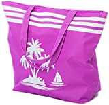 Beach Bag Womens Large Canvas Summer Tote Bags With Zipper Closure 19'' x 15'' x 6'' Palm tree Pattern (Purple)