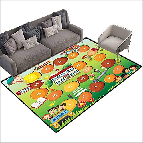 (Floor Entrance Rug Kids Activity,Reaching The School on Time Colorful Board Game Style Design School Bus,Multicolor 60