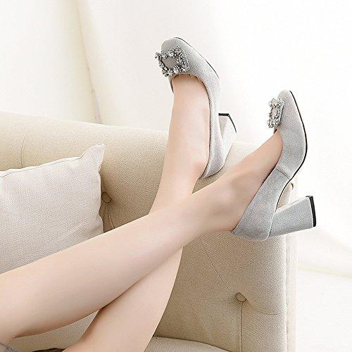 la y femenino luz la a del rojos el Durante tacón primavera zapatos otoño de de cabeza solo gray partido 4Yfd6dn