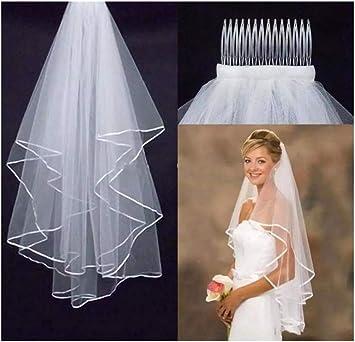 Elegant Kurz Braut Tüll Schleier Zwei Schichten mit Kamm Hochzeit Zubehör