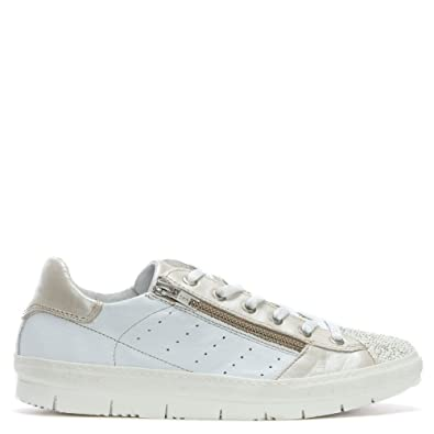 Daniel Kates Weißes Leder Pailletten Toe Trainer 36 White Leather
