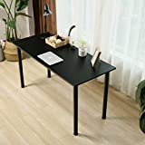 Eyabuynar Computer Table Writing Desk Workstation Office Desk (55x23.6 inch, Black + Black leg)