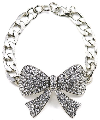 GWOOD Bow Silver Color 6 Inch Ribbon Bracelet with Link Chain]()