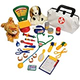 Constructive Playthings CPX-554 CP Toys Pretend Play Veterinarian 30 Pc. Playset with Stuffed Puppy & Kitty