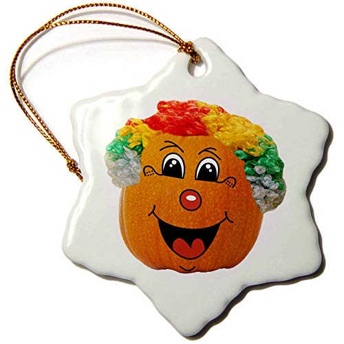 3dRose Sandy Mertens Halloween Food Designs - Jack o Lantern Funny Clown Face Halloween Pumpkin, 3drsmm - 3 inch Snowflake Porcelain Ornament (orn_290217_1) -