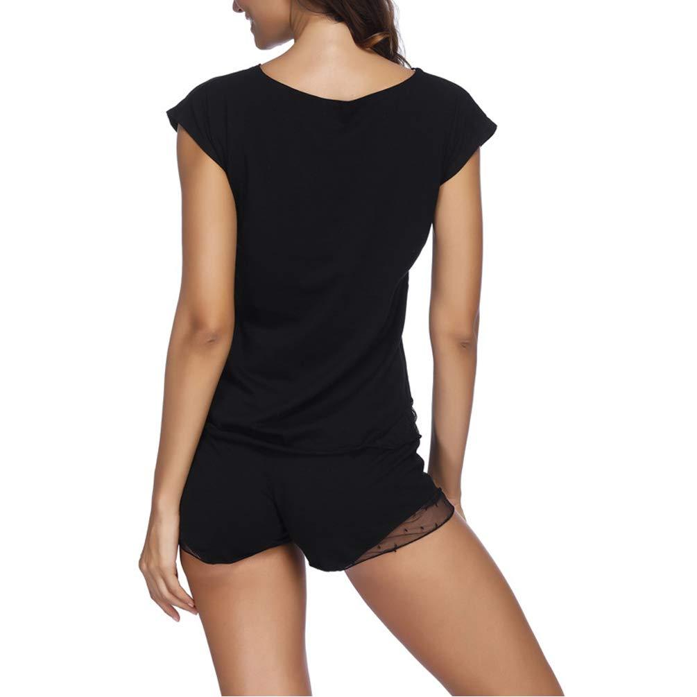 ENJOYNIGHT Women\'s Shorts Pajama Set Short Sleeve Sleepwear Lace Nightwear (Black, X-Large)