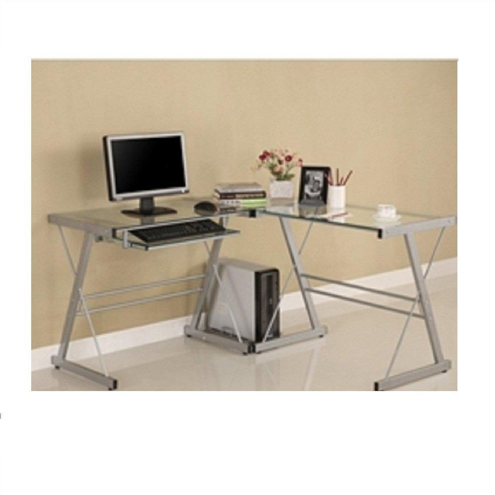 Amazon com modern corner computer desk in metal and glass corner computer desk workstation l shape laptop table home office modern svitlife kitchen
