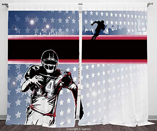 Rod Pocket Curtain Panel Polyester Translucent Curtains for Bedroom Living Room Dorm Kitchen Cafe/2 Curtain Panels/108 x 84 Inch/Americana Decor,Baseball American Football Player Running in the ()