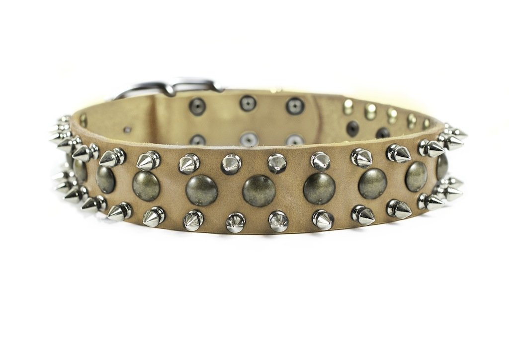 Dean and Tyler BUSINESS END Dog Collar With Nickel Hardware Tan Size 41cm by 4cm Width Fits Neck Size 36cmes to 46cmes.