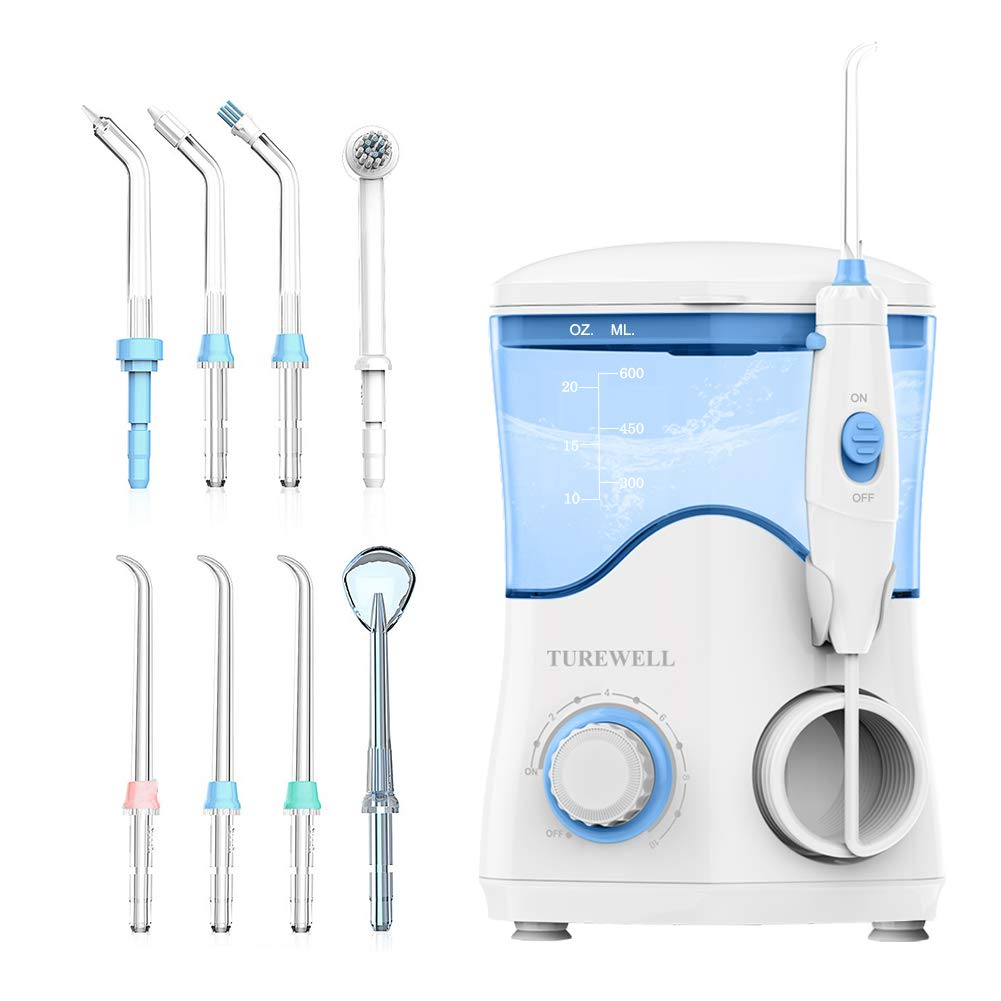 Water Flosser, Dental Oral Irrigator for Teeth/Braces,10 Pressure Levels Water Pick Teeth Cleaner 8 Replaceable Water Jet Tips for Family, 600 Milliliter Capacity Electric Water Dental Flosser