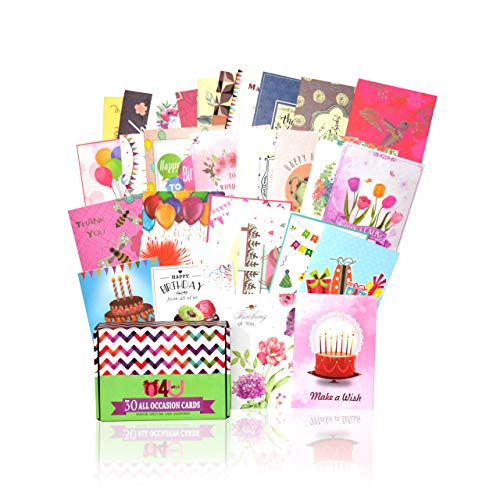 Greeting Cards Assortment for All Occasions - 30 Pack Box Set Handpicked Greeting Card Assorted Blank Cards with Envelopes 5x7 | Sympathy, Thank you, Congratulations, Happy Birthday Cards and More
