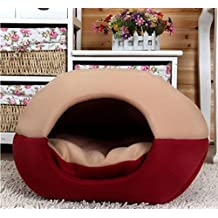 Pet bed, KAMIER Mongolian Yurt Shaped House Bed with Removable Cushion inside Soft Cotton Dog Cat Pet Bed-Red,L