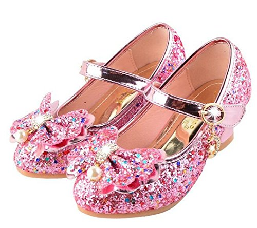 Bumud Girls Mary Jane Wedding Party Shoes Glitter Bridesmaids Low Heels Princess Dress Shoes (2 M US Little Kid, Pink) by Bumud