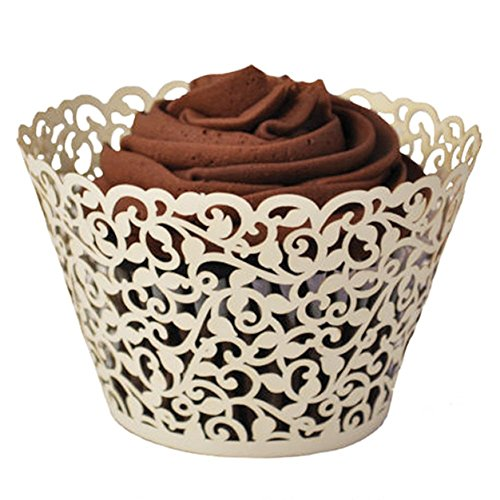 YOZATIA 60PCS Ivory Cupcake Wrappers, Lace Cupcake Liners Laser cut Cupcake Papers for Wedding/Birthday Party Decoration (ivory)