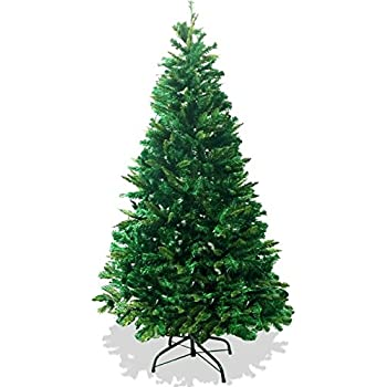 LavoHome 6-Feet 1200 Tip Branch Canadian Pine Frasier Fir Green Artificial Plush and Full Christmas Tree with Metal Stand