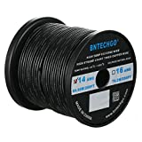 BNTECHGO 14 Gauge Silicone Wire Spool Black 200 feet Ultra Flexible High Temp 200 deg C 600V 14AWG Silicone Rubber Wire 400 Strands of Tinned Copper Wire Stranded Wire for Model Battery Low Impedance