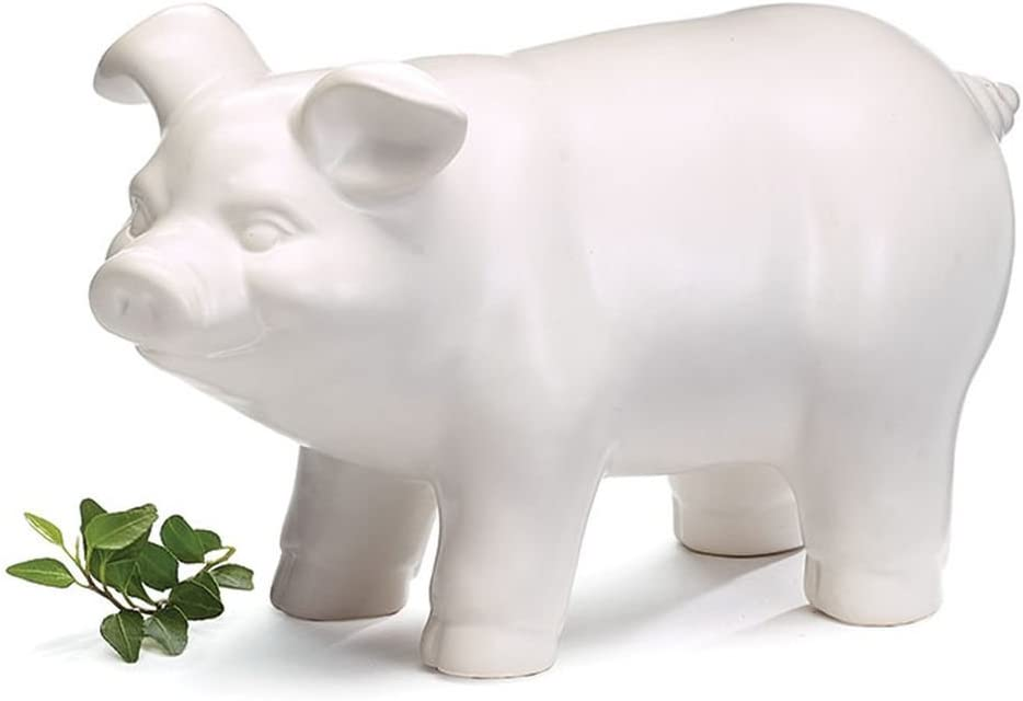 Pink Benzara BM179190 Ceramic Standing Pig Figurine with SM Gloss Finish