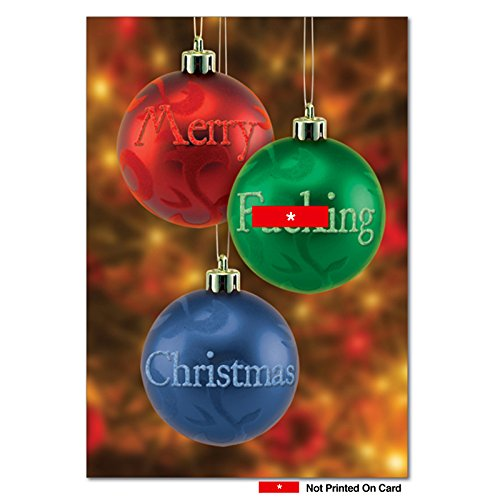 12 Boxed 'Merry Fuckin' Balls' Christmas Cards with Envelopes 4.63 x 6.75 inch, Happy Holidays with Vulgar Christmas Ornaments, Holiday Notes, Profanity, and Cursing Christmas Decor Cards B5950
