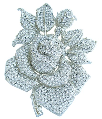 Rose Silver Tone Brooch - Sindary Gorgeous Wedding 5.32